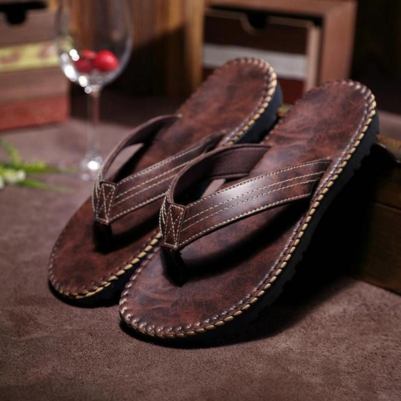 Hot Selling Summer Cool Men Pu Leather Flip Flops British -4818