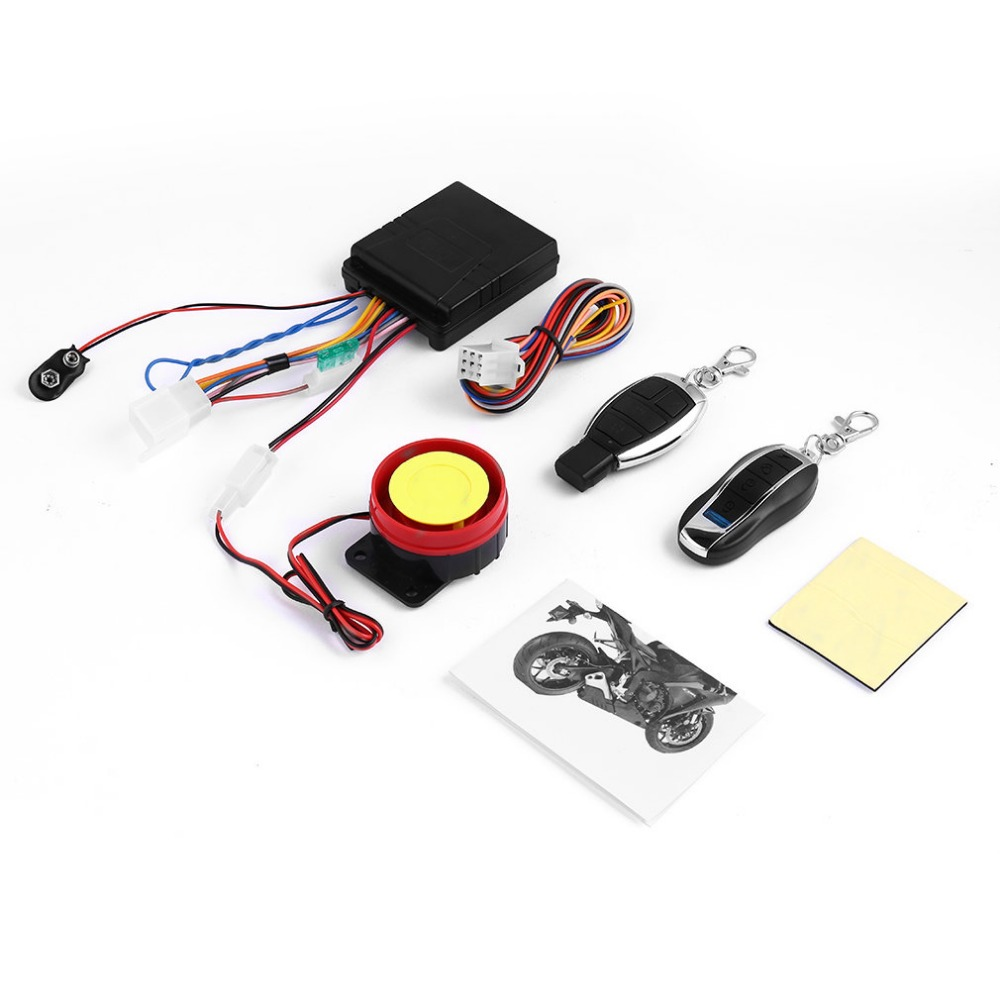 KONNWEI 1Set 12v Universal Motorcycle Motorbike Scooter Security Alarm System Motor Lock Safety 2 Remote Control Engine Start