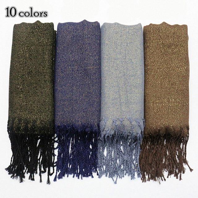 1324cff0a8be Or shimmer femme écharpe solide couleur gland foulards mode brillant soft  design viscose coton châle Musulman