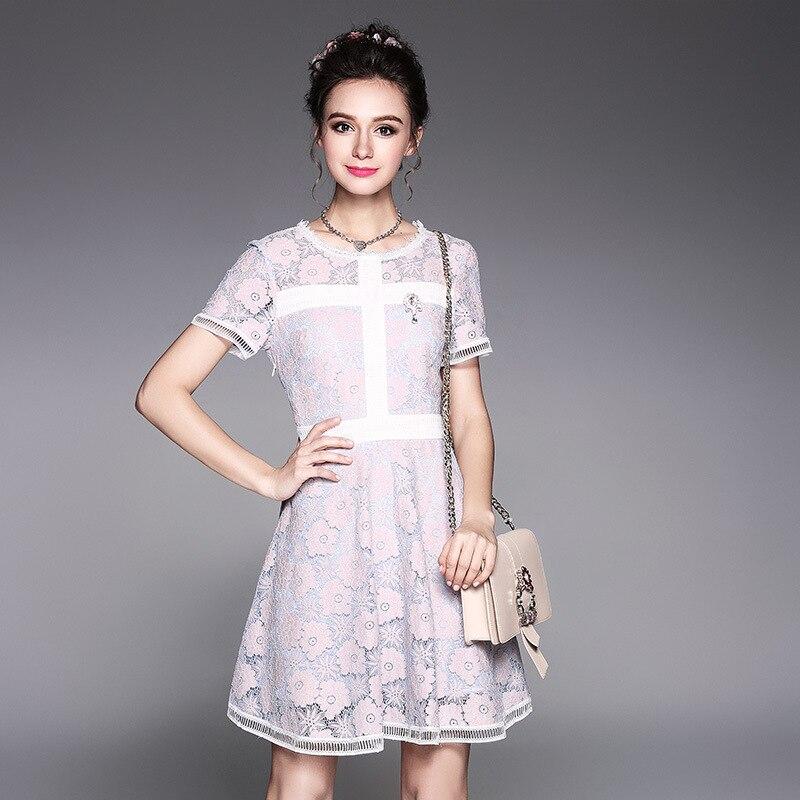 2017 D'été Femmes élégantes robe de dentelle colorée pincée taille belle junior robe de soirée décontracté robes grande taille tunicsXXXXXL5251