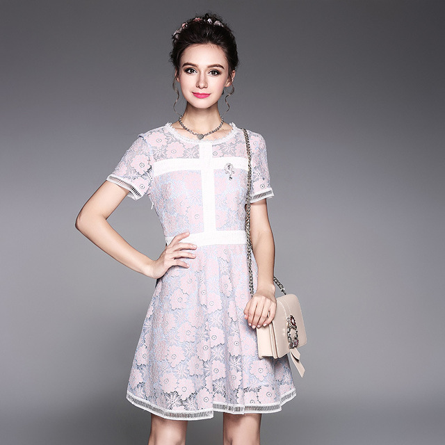 2017Summer Women elegant colorful lace dress pinch waist beautiful ...
