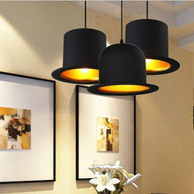 Venta caliente 110 v/220 v Top Hat Luces Colgantes de aluminio ligero Sombrero para la Cocina Creativa D26cm * H17cm Lámpara de techo para Bar cafetería