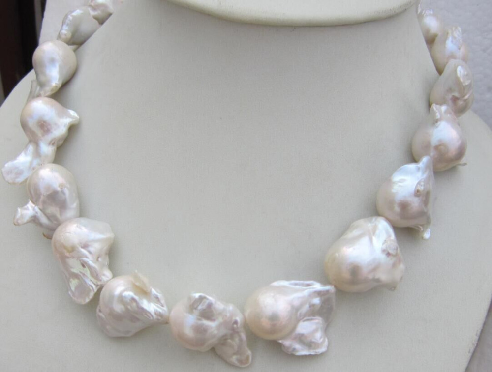 Énorme collier de perles baroques blanches AAA 16-24 MM naturel mer du sud 18 pouces