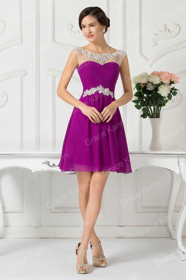 vestidos de fiesta cortos 2016 Blue Purple Cap Sleeve Prom Dress ...