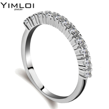 100% 925 Sterling Silver Color Radiant Hearts Light  Enamel & Clear CZ Finger Ring Women Wedding Jewelry RA10