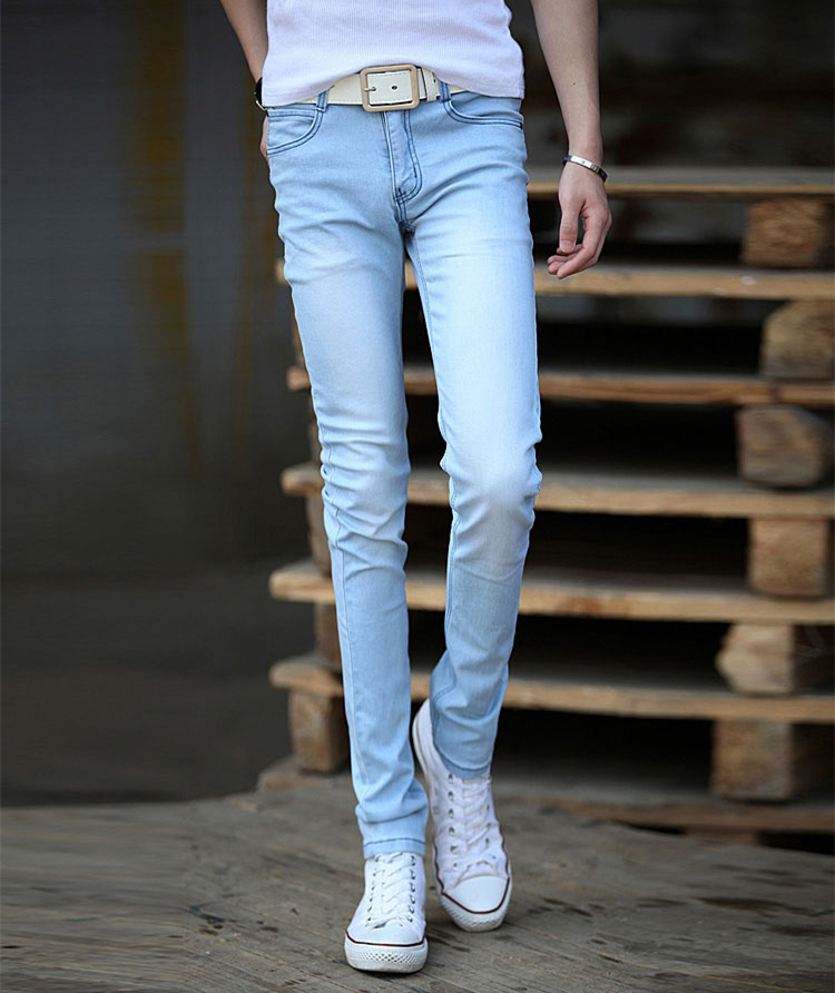 mens light blue skinny jeans - Jean Yu Beauty