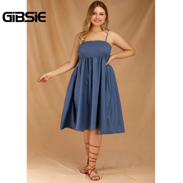 GIBSIE Plus Size Women's Denim Spaghetti Strap Dresses 2019 Summer Casual High Waist Big Hem Sleeveless Midi Dress Vestidos 4