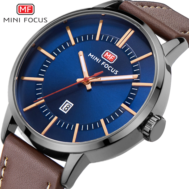 MINI FOCUS Men Watch Quartz fashion Casual Rose Gold Watch Men Leather Relogio Masculino De Ouro Montre Lux Homme Erkek Saat цена и фото