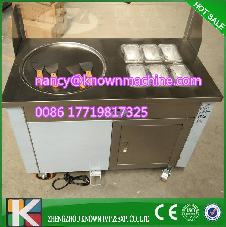 R410A commercial fried ice cream machine single pan thailand rolled fried ice cream machine with arylic screen