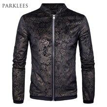 f822041d852b0 New Gold Paisley Floral Printed Jacket Men Veste Homme 2017 Autumn Fashion  Mens Slim Fit Zip up Mens Black Jackets and Coats