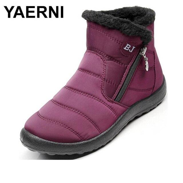 YAERNI 2018 schnee stiefel frau schuhe winter weibliche warme pelz wasser-beständig oberen plus size fashion non-slip sohle neue stil E639