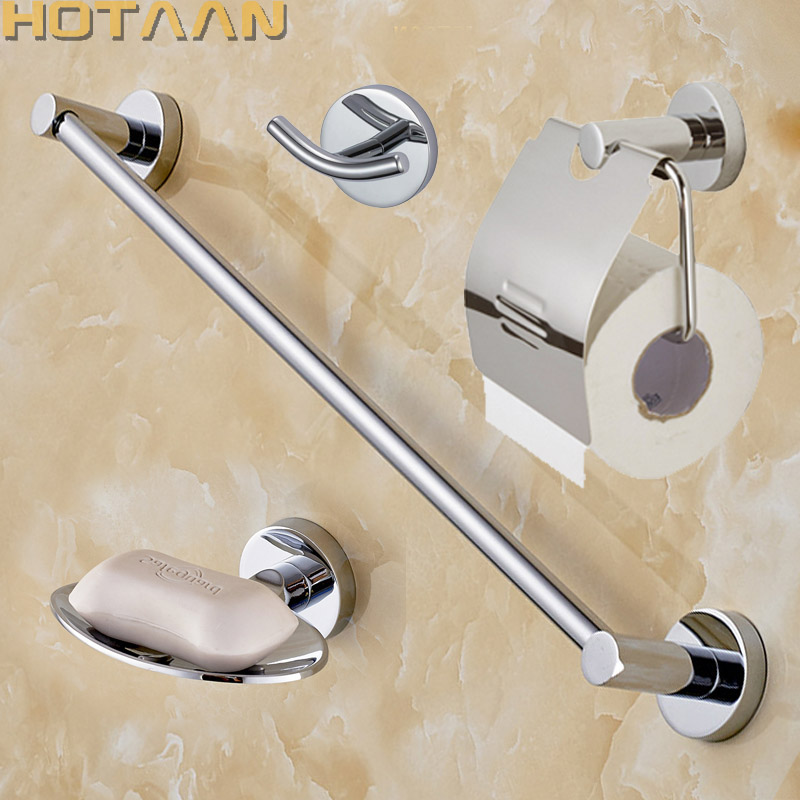 Free shipping Round 304 Stainless Steel Bathroom Accessories Set Soap dish Robe hook Paper Holder Towel