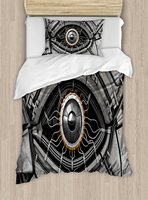 Eye Duvet Cover Set Robot Eye Wires Futuristic Technology Cyborg Mechanical Industrial Fantastic Decorative 4 Piece
