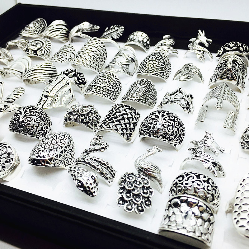 Image 2 - wholesale lot 50pcs mix styles women's retro Jewelry Rings brand new-in Rings from Jewelry & Accessories