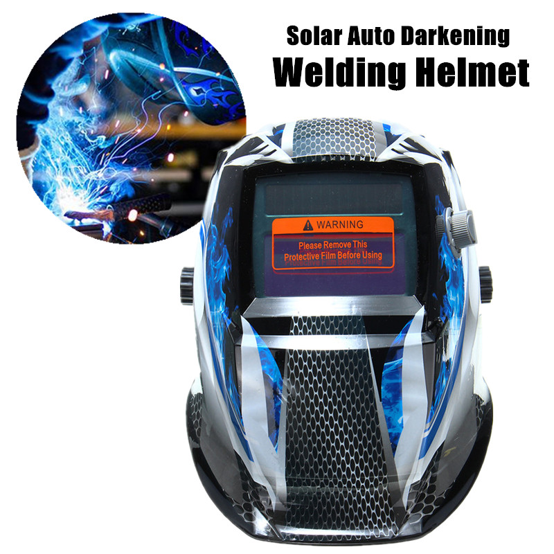 Solar Powered Welding Machine Auto Darkening Anti-UV/IR Welding Helmet Blue Flame Welders Mask Lens Cap for TIG MIG Grinding welding helm bule flame solar auto darkening welders welding helmet mask grinding mode automatic welder filter lens welding tool