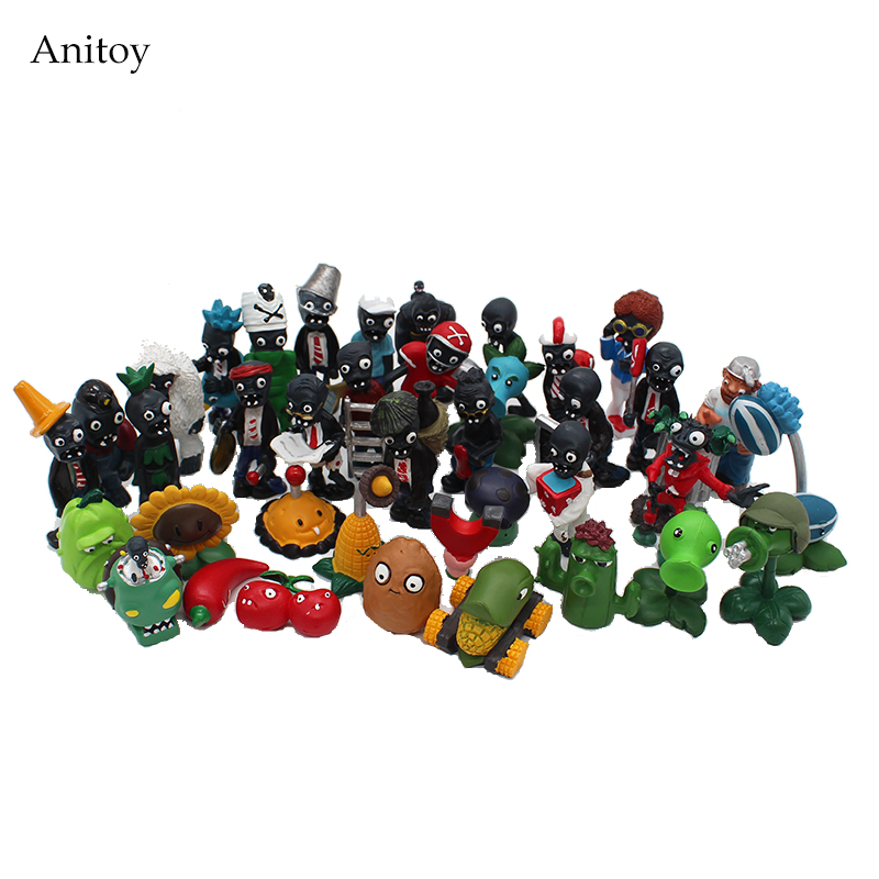 Plants vs Zombies PVC Action Figures 2.5-6.5cm PVZ 40pcs/set Collection Figures Toys Gifts plant + zombies KT3968