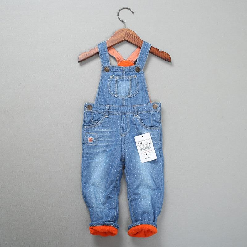 New Winter Baby rompres bib Warm fleece pants Baby boys Girls Overalls jeans Newbron Denim bodysuit