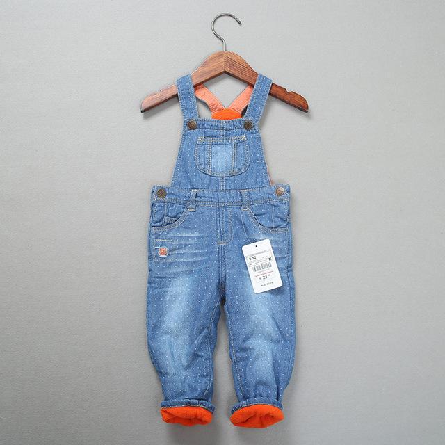 Novo Inverno Bebê rompres bib calças de lã Quente Do Bebê Das Meninas dos meninos Macacão jeans Newbron bodysuit Denim