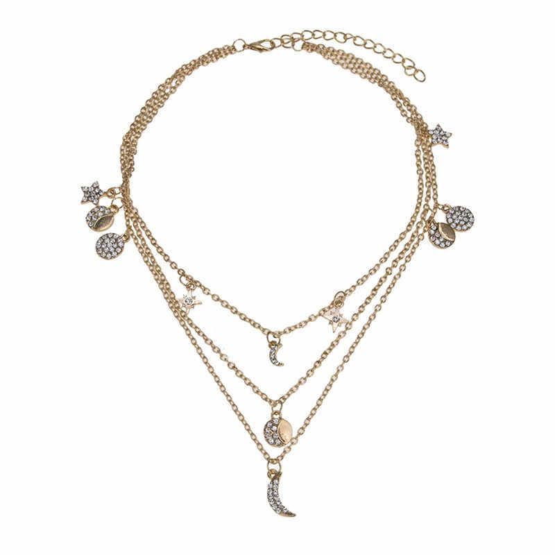 Ahmed Trendy złoty wielowarstwowe księżyc gwiazda naszyjniki Boho kryształ okrągły spadek wisiorek afryki naszyjniki dla kobiet 2019 Choker biżuteria