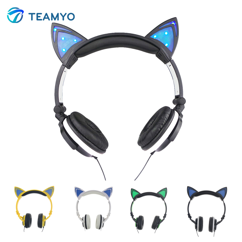 Foldable Cat ear Headphones With LED Glowing Earphone Gaming Headset auriculares headphone for Mobile Phone Adults and Children foldable flashing glowing cat ear headphones gaming headset earphone with led light luminous for pc laptop computer mobile phone