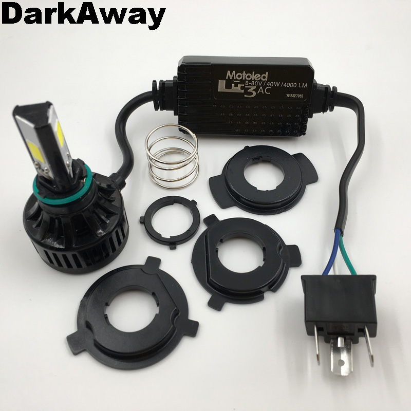 DarkAway New AC 8-80V H4 LED Bulb Motorcycle LED Headlight 3 COB Chips LED H4 HS1 PH7 H6 BA20D Bulb IP67 40W 4000Lm Super Bright 2016 new 800lm h4 white cob led hi lo beam motorcycle super bright headlight front light bulb lamp dc 6 to 80v