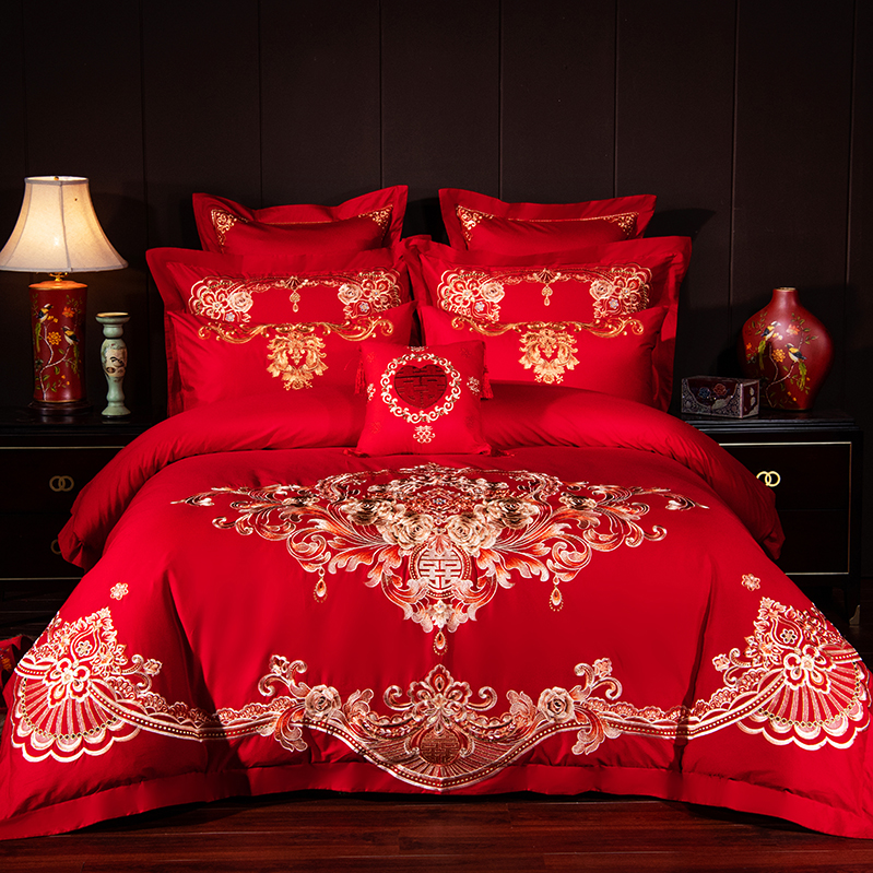 Luxury Gold Rose Embroidery 100 Cotton Red Chinese Style Wedding 4 6 9pcs Bedding Set Duvet Cover Bed sheet Linen Pillowcases in Bedding Sets from Home Garden