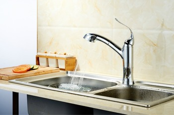 kitchen  basin faucets pull out a faucets kot and cold water Sink taps basin deck mounted chromed single handle faucet