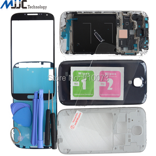 Оригинал S4 Полный Жилищно Запчасти Для Samsung GT-i9500 Передняя Рамка Ближний Рамка + Задняя Обложка + Температуры Стекла Бесплатные Инструменты,