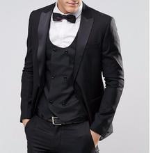 Custom Design One Button Black Groom Tuxedos Groomsmen Men's Blazer Prom Suits Bridegroom (jacket+pants+vest+Bow tie)