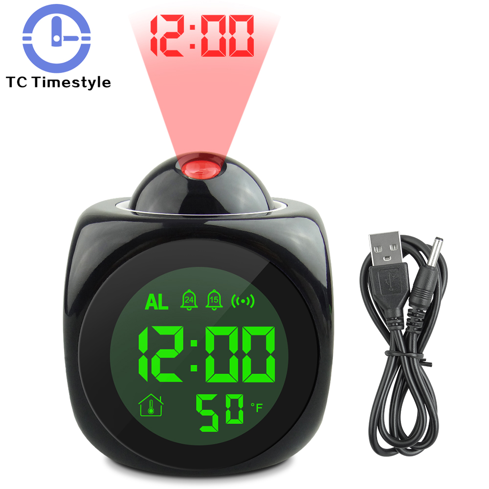 Led Display Modern Projection Led Clock Electronic Desktop Alarm Clock Digital Table Clocks Snooze Function Cables