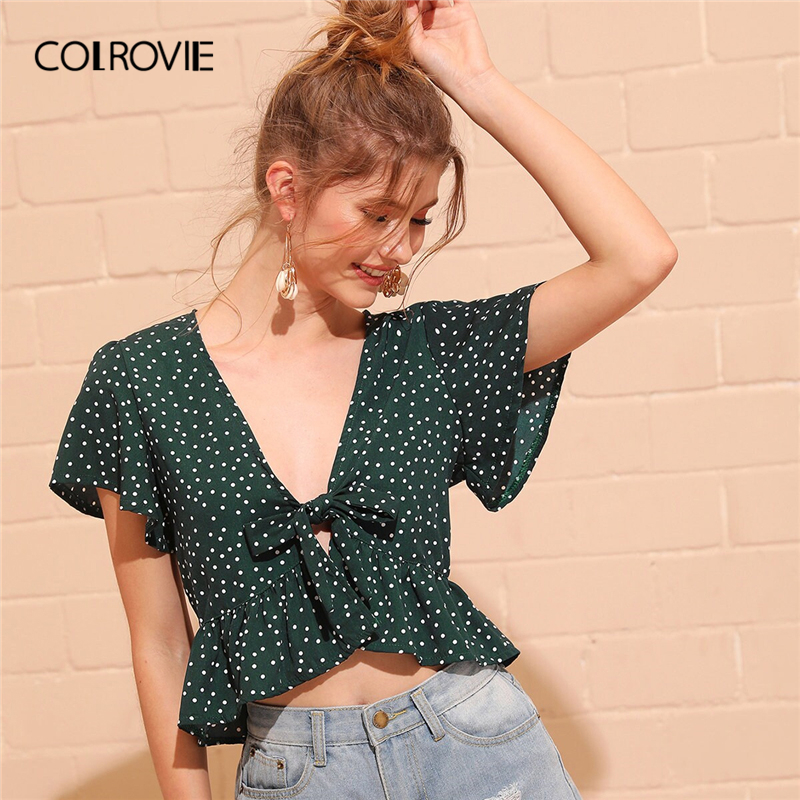 COLROVIE Green V Neck Polka Dot Tie Front Ruffle Peplum Crop Top Women   Blouse     Shirt   2019 Summer Korean Style Holiday   Blouses