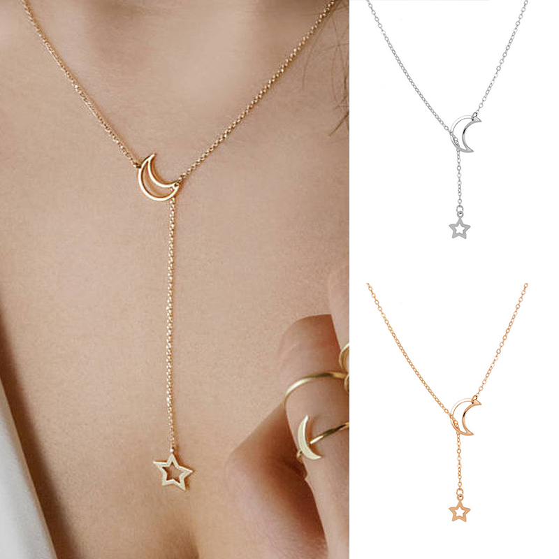 Simple Moon Necklace Pendant Silver Gold Color Chain Necklace Choker Moon And Star Jewelry 2018 Fashion Best Friend Gift chain