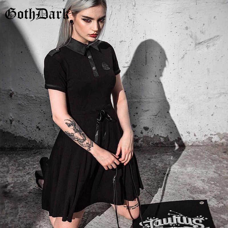 Goth foncé esthétique élégant solide Patchwork robes pour les femmes gothique nœud cordon Buttton robes plissé Rivet robe noire