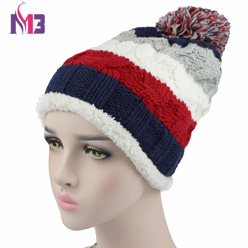 Fashion Women Warmer Knit   Beanie   Hat Fleece Lining Double Layer Thick Warm Casual Knitted   Skullies     Beanie   Cap Ball