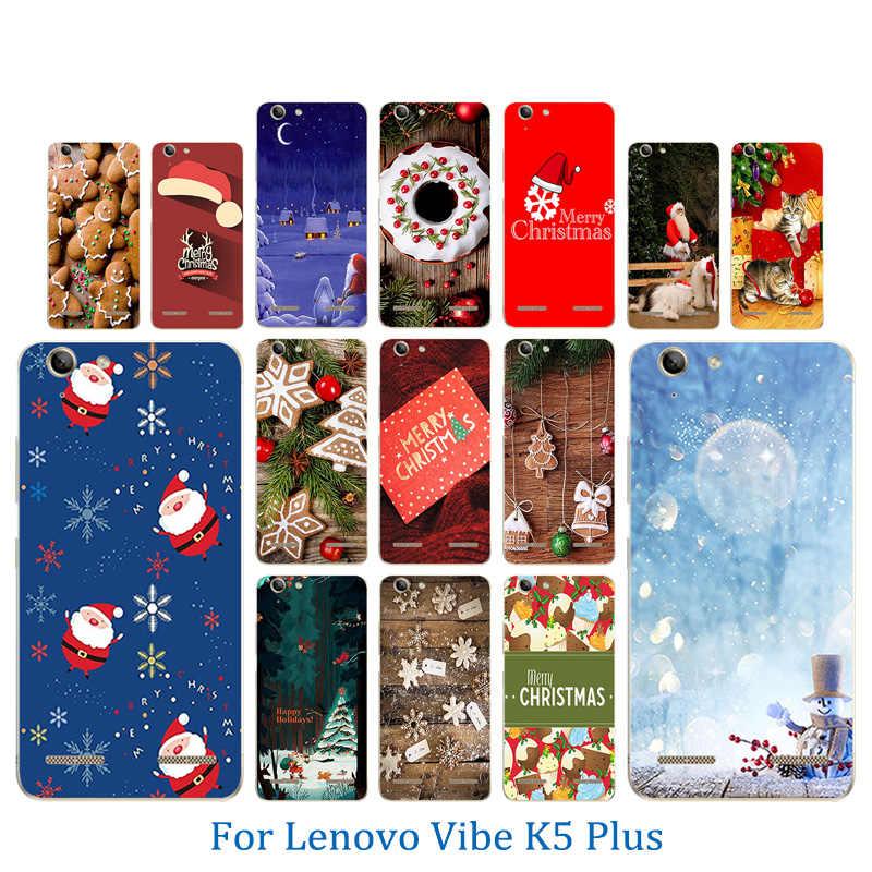 الهاتف الحالات لينوفو فيبي K5 يغطي K5 زائد الليمون 3 A6020 أكياس ميلاد سعيد كسعماس نمط لينة TPU السيليكون حالة لينوفو 6020