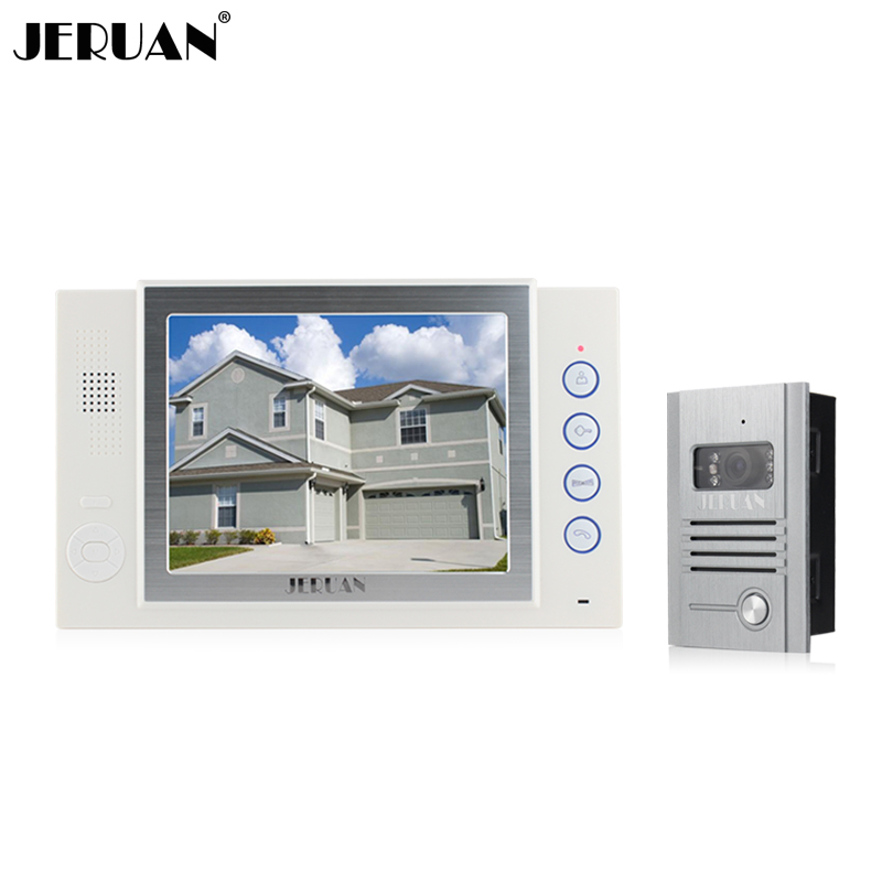 JERUAN 8 inch video door phone doorbell intercom system video recording photo taking 700TVL COMS camera free shipping jeruan 8 inch video door phone high definition mini camera metal panel with video recording and photo storage function