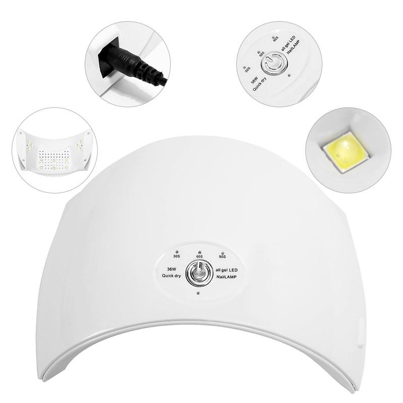 Modelones 36 watt UV LED Lampe Nagel Trockner für Nägel Gewölbte Förmigen 9SD Nagel Lampe für UV Gel Polnischen Werkzeuge maschine Nagel Kunst Trockner Kits
