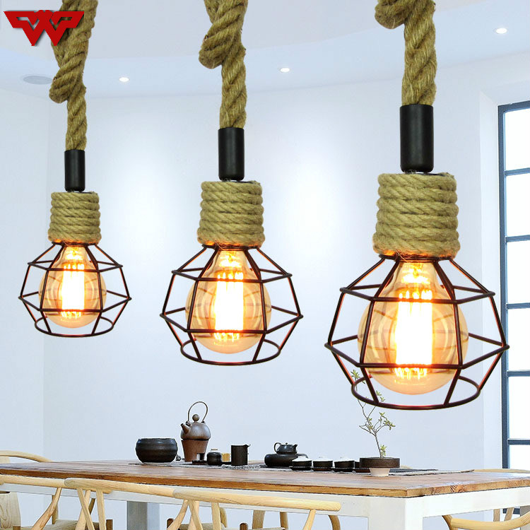 Single hemp rope chandelier American country  personality restaurant chandelier retro industrial style cafe teahouse lamps|Pendant Lights| |  - title=