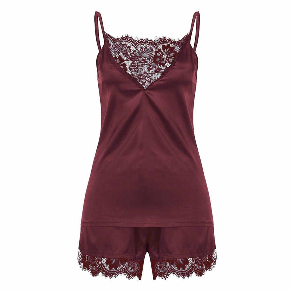 28316bf0c48 Women Sleepwear Sleeveless Strap Nightwear Lace Trim Satin Cami Top Pajama  Sets pyjamas women pajamas for