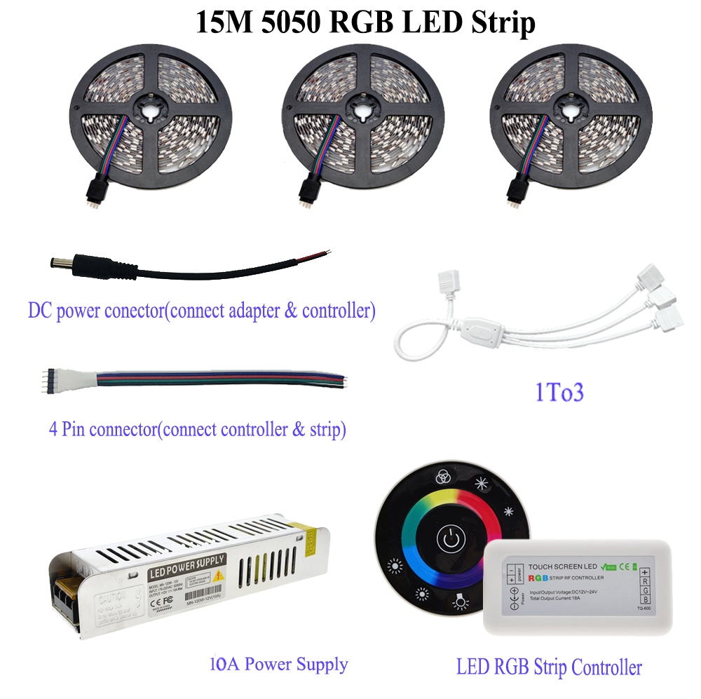IP20 / IP65 vandtæt 5M / 10M / 15M 5050 RGB LED-stripsæt med 7Keys - LED Belysning