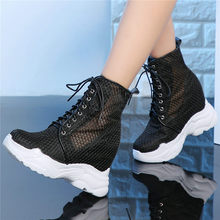 Punk Oxfords Women Cow Leather Mesh Super High Heel Gladiator Sandals Wedges Platform Trainers Shoes Casual Goth Creepers