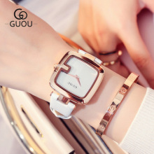 GUOU Brand Watch 2018 New Design Fashion Women Leather Band Watches Square Dial Quartz WristWatch Luxury Ladies Watch Reloj