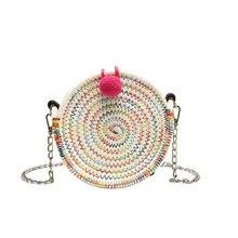 2019 fashion new color handbag high quality shoulder bag ladies beach woven bag round handbag tassel beach woven shoulder bag tr tassel decor woven chain bag