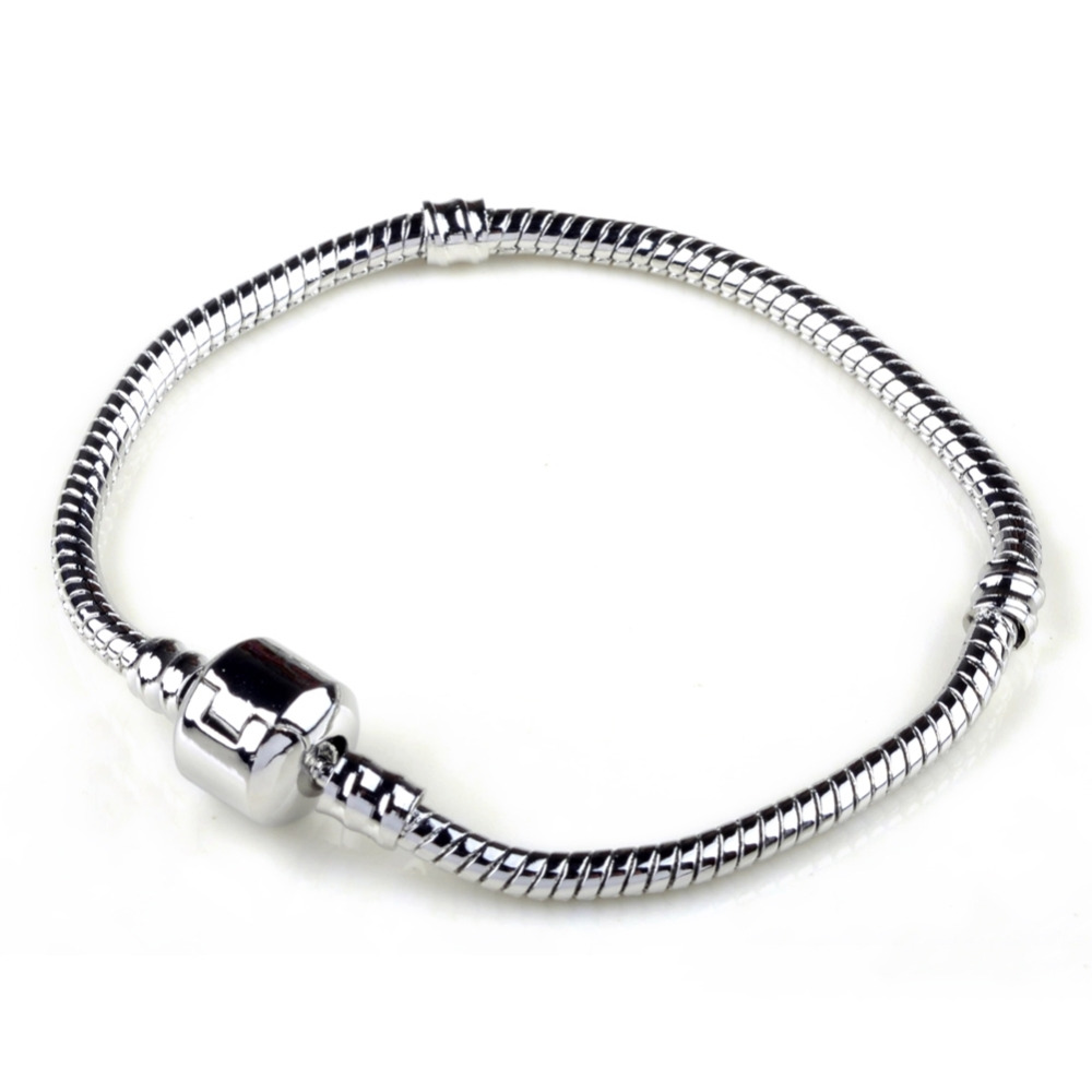 Hot Silver Love Snake Chain Fit Pan Charm Bracelets & Bangles Jewelry Gift For Men Women 17-22cm
