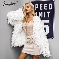 Simplee Warm Knitting Shaggy White Cardigan Women Sweater Soft Black Female Jacket Coat Autumn Winter Hairy