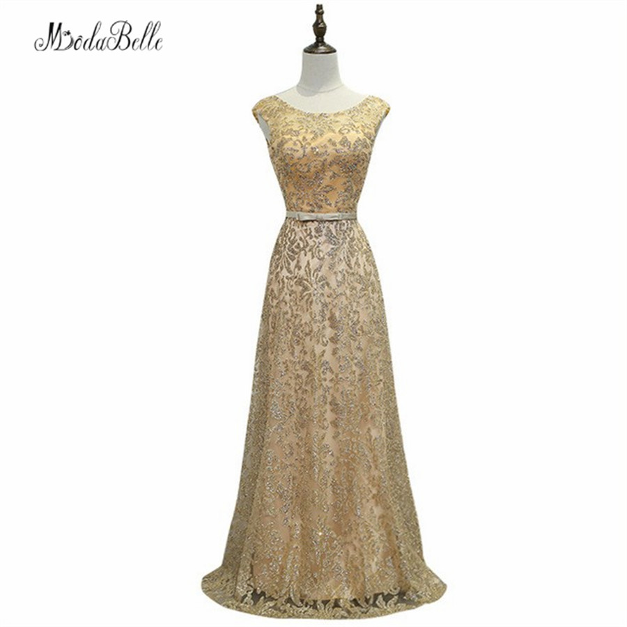Modabelle Gold/Navy Blue Long   Evening     Dress   Bling Sequins A Line Prom   Dresses   Formal   Evening   Gowns Robe De Soiree Longue 2017
