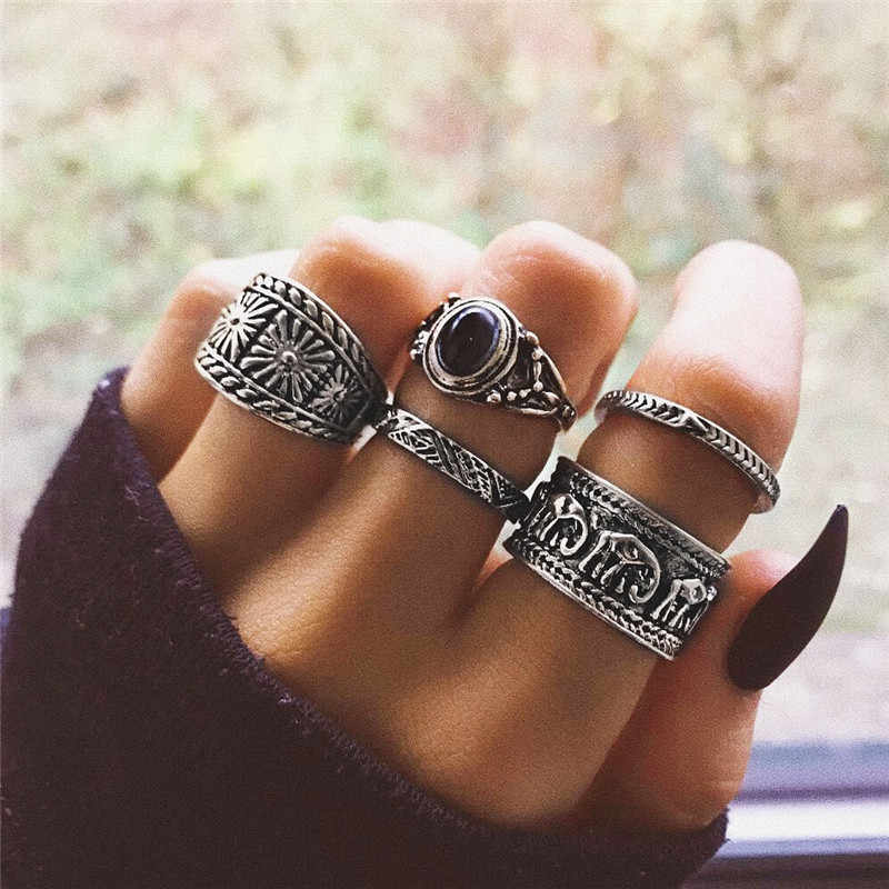 9ac0539cd7 BUTEELUVV Ethnic Elephant Engraved Wide Rings Set Fashion Indian Jewelry  Vintage Antique Silver Color Geometric Rings