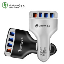 QC3.0 автомобильное зарядное устройство Quick Charge 3,0 быстрое зарядное устройство 4 порта автомобильное USB зарядное устройство адаптер универсальная Быстрая зарядка для iPhone samsung Xiaomi