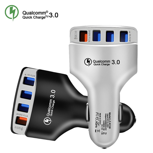 QC3.0 Car Charger Quick Charge 3.0 Fast Charger 4 Port Car USB Charger Adapter Universal Fast Charging for iPhone Samsung Xiaomi