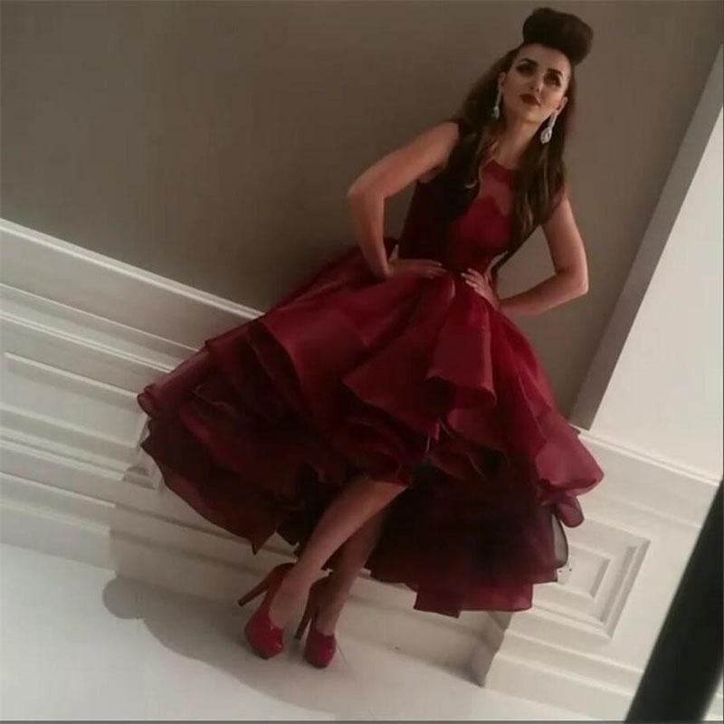 Burgundy Ball Gown Prom Dresses High Low Puffy Ruffles Organza Short Prom Gowns 2020 Chic Cocktail Party Dress Vestido De Festa
